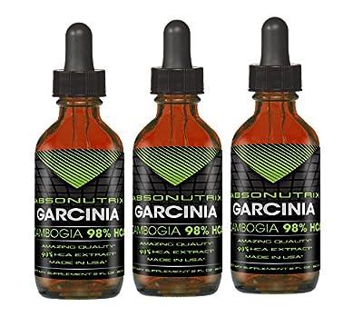 3 Absonutrix Garcinia Cambogia 98% HCA weight loss supplement 2Oz 60 day supply