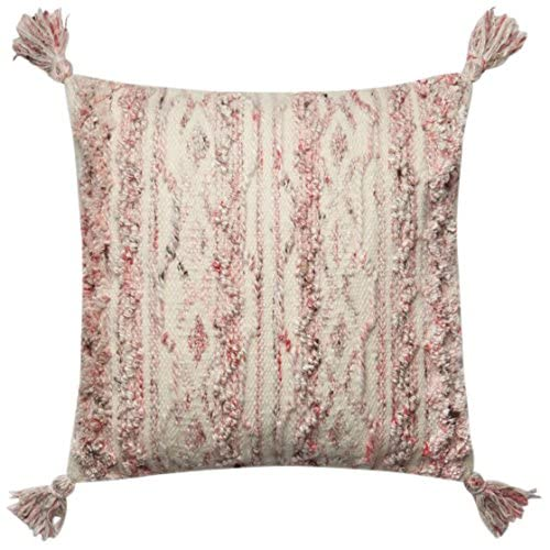 Image of Loloi P0643 Pillow Cover with Down Fill, 18' x 18', Pink/Ivory Home and Kitchen