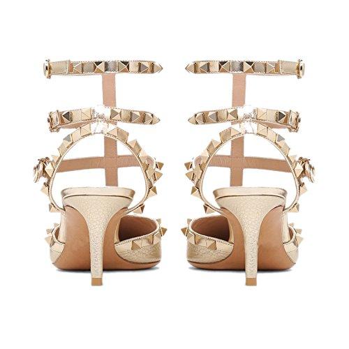 Sandalo Vestito Pattern Heel T Kitten Costellato con Strap Pompe Tacco Punta Punta Studs a Chris Gold Gold Stud Gold Donne cinghiettiSandali zvwaOaCq
