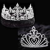 Celia Royalty Set, 4 1/2 inch High Celia Tiara and Silver Fleur-de-Lis Crown and Black Fur Trim