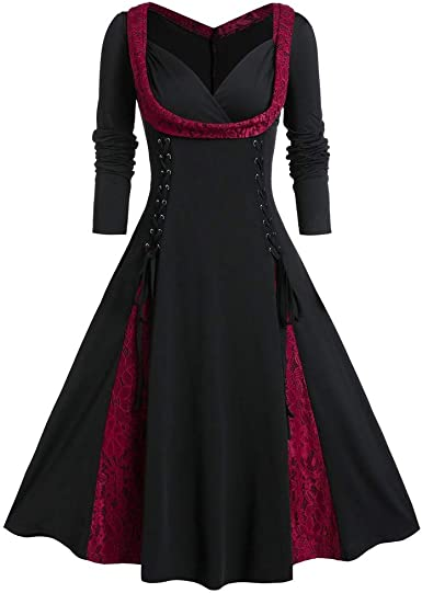 Allegorly Robe De Soiree Femme Chic Grande Taille Robe Hiver Femme Manches Longue Robe Dames Patchwork Robes Casual Longue Robe Lonshell Jumper Hiver Mode Amazon Fr Vetements Et Accessoires