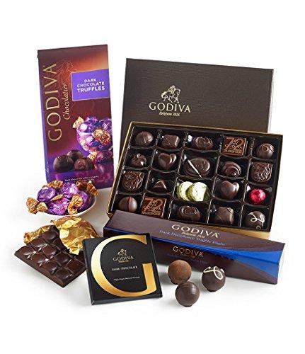 GODIVA Chocolatier Dark Chocolate Lover's Tasting Gift Set with 4 Dark Chocolate Assorted Truffles and Gifts, Great for (Chocolate Lovers Assortment)