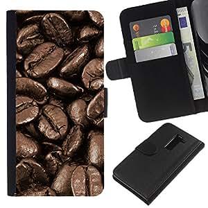 [Neutron-Star] Modelo colorido cuero de la carpeta del tirón del caso cubierta piel Holster Funda protecció Para LG G2 D800 [Coffee Beans Macro]