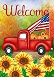 Toland Home Garden 1012207 Welcome Harvest Truck 28 x 40 Inch Decorative, Fall Autumn Vintage Red Pickup, House Flag For Sale