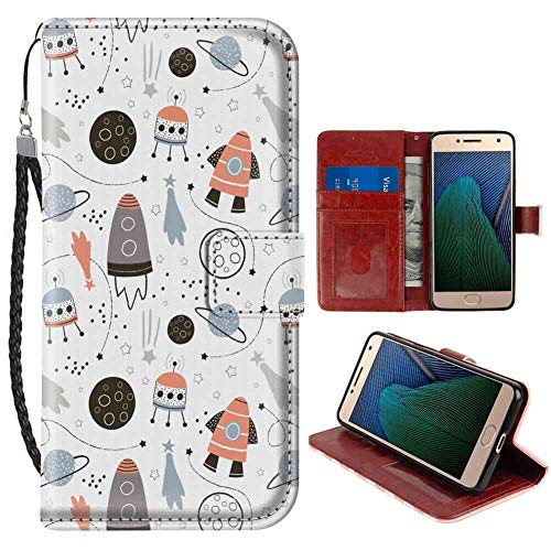 (Wallet Phone Case for Moto G5 Plus 5.5-Inch Nursery Hand Drawn Outer Space UFO and Spaceship Exploring Stars and Beyond Pale Blue Black and Coral Pattern for Women Case)