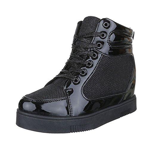 Sneakers 7779 Damenschuhe Design Schwarz Freizeitschuhe high Ital ZStqw6Y