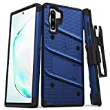ZIZO Bolt Series Samsung Galaxy Note 10 Case | Heavy-Duty Military-Grade Drop Protection w/Kickstand Included Belt Clip Holster Lanyard (Blue/Black)