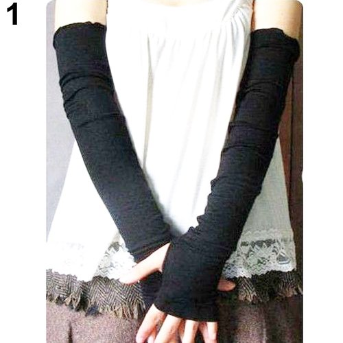Aland Lady Fashion UV Sun Protection Arm Warmer Long Fingerless Cotton Gloves Sleeves Black