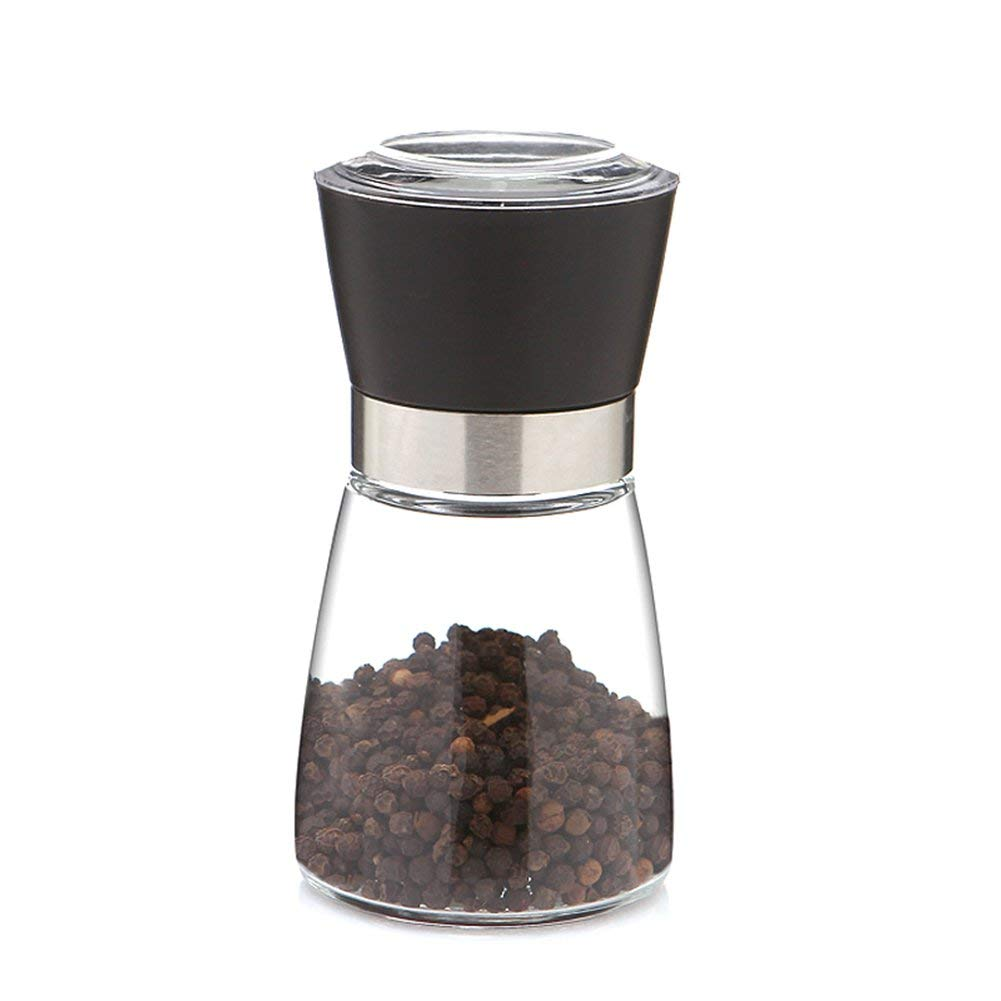 Haloku Salt and Pepper Grinder Glass Body Shaker,Spice Container Condiment Jar Holder Grinding Bottle for Kitchen Tools