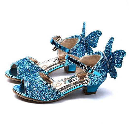 Price comparison product image MIKA HOM Children's Shoes Small Shoes Princess Shoes Student Dance Shoes(Blue 26 / 9 M US Toddler)
