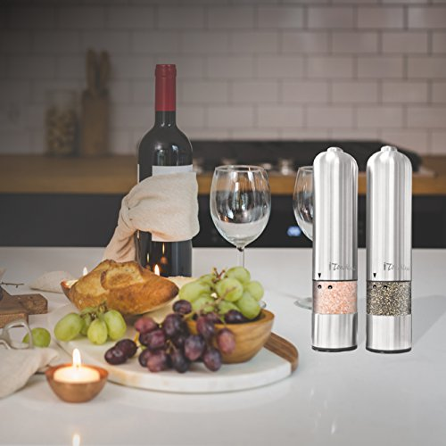 iTouchless Stainless Steel Battery Powered Salt or Pepper Mill
