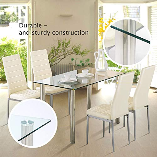 Ivory PU Leather Quilted Meal Bar Seat With Rectangular Clear Glass Top Dining Stand 5 Piece Modern Cuisine Counter Set of 5Pcs