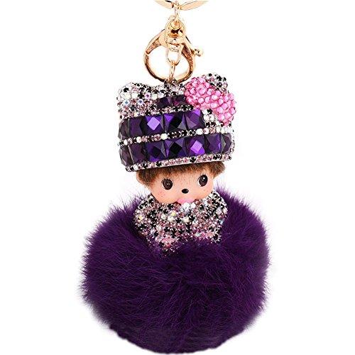 - EASYA Cute Keychain Hat Doll Fur Ball Bow Key Chains Pendant for Handbag Car Charms Keyring(Purple)