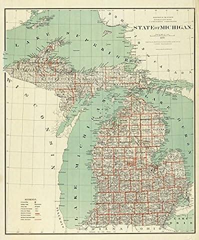 1878 Old Historical Wall Map Michigan Great Lakes - Various Sizes Reprint - Michigan Antique Map