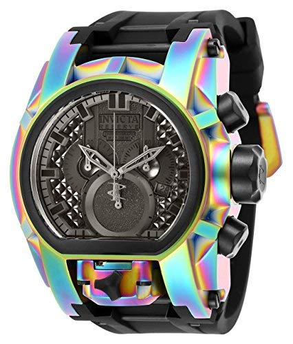 Multifunction Watch Dial (Invicta Men's Reserve Stainless Steel Quartz Watch with Silicone Strap, Black, 34 (Model: 25609)