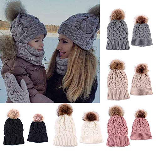 Gbell Winter Knitted Mom and Baby Beanies Hats 2Pcs /Set,Newborn Warm Crochet Cap Pom Pom Ball Soft Hat for Infant Baby Boys Girls 0-5 Months