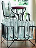 Home & Kitchen Glass 4 Compartment Utensil Flatware Cutlery Caddy Holder with Wooden Handle. For Utensil, Spatula, Silverware Holder for Kitchen Counter top,Flower Vase Centerpiece