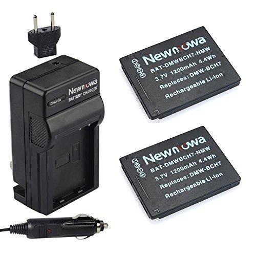 Newmowa DMW-BCH7 Replacement Battery (2-Pack) and Charger kit for Panasonic Lumix DMC-FP1 DMC-FP2 DMC-FP3 DMC-FT10 DMC-TS10