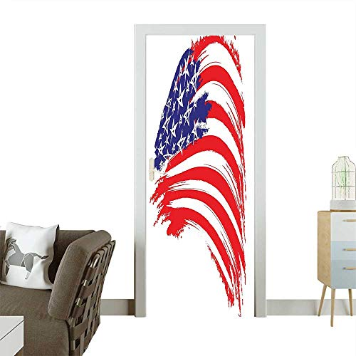 Homesonne Decorative Door Decal Sketchy Brush Stroke Watercolor Modern Memorial Day National Art Paint Blue Red Stick The Picture on The doorW17.1 x H78.7 INCH