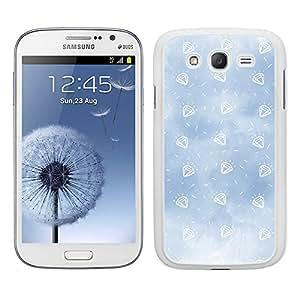 Funda carcasa para Samsung Galaxy Grand diseño diamantes fondo azul borde blanco