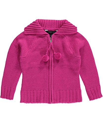 French Toast Little Girls' Pom Pom Zip Front Cardigan, Medium Pink, 6X by French Toast