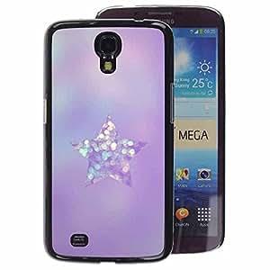 A-type Arte & diseño plástico duro Fundas Cover Cubre Hard Case Cover para Samsung Galaxy Mega 6.3 (Purple Glittering Glass Diamond Star)