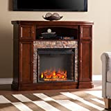 Harper Blvd Davenport Espresso Faux Stone Electric Media Fireplace