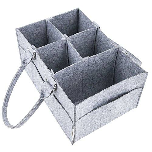 Diaper Caddy Organizer for Nursery and Changing Table | Gift Basket for Baby Shower| Baby Storage Bins for Toys and Wipes | Portable Car Travel Organizer | Large Felt Basket for Boys and Girls|