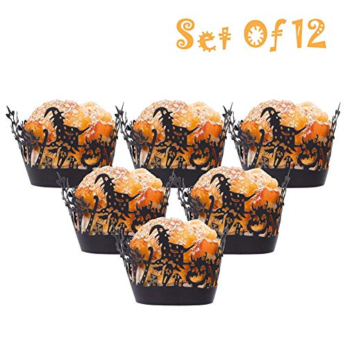 Baring Cupcake Wrappers Haunted House 12pcs/Set Halloween Hollow Paper Cup Spider Web Pumpkin Horror Castle Cake Wrap(Black 2)