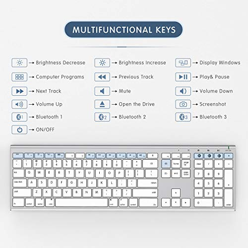 Teclado multidispositivo para Mac OS / iOS / iPad OS, teclado Bluetooth Jelly Comb para MacBook Pro / Air, iMac, iPhone, iPad Pro / Air / Mini, iPad nuevo | Conecte hasta 3 dispositivos (blanco y plateado)