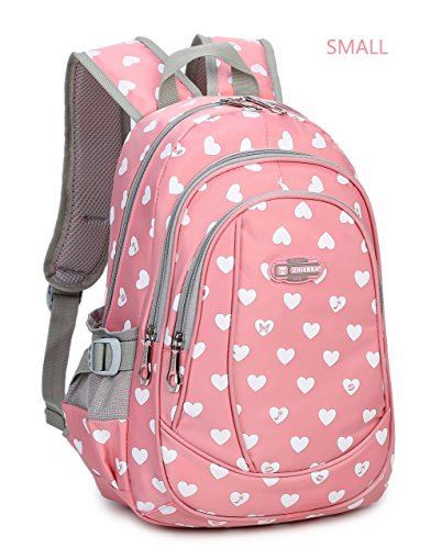 Hearts Print School Backpacks For Girls Kids Elementary School Bags Bookbag (Small- Pink 2)