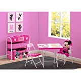 Disney Minnie Mouse Playroom Solution Set (Table & Chair Set + Metal Multi-Bin Toy Organizer)