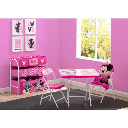 Disney Minnie Mouse Playroom Solution Set (Table & Chair Set + Metal Multi-Bin Toy (Metal Desk Chair Set)