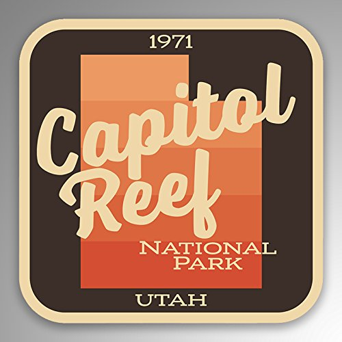 JMM Industries Capitol Reef National Park Vinyl Decal Sticker Car Window Bumper 2-Pack 4-Inches by 4-Inches Premium Quality UV Protective Laminate NPS069