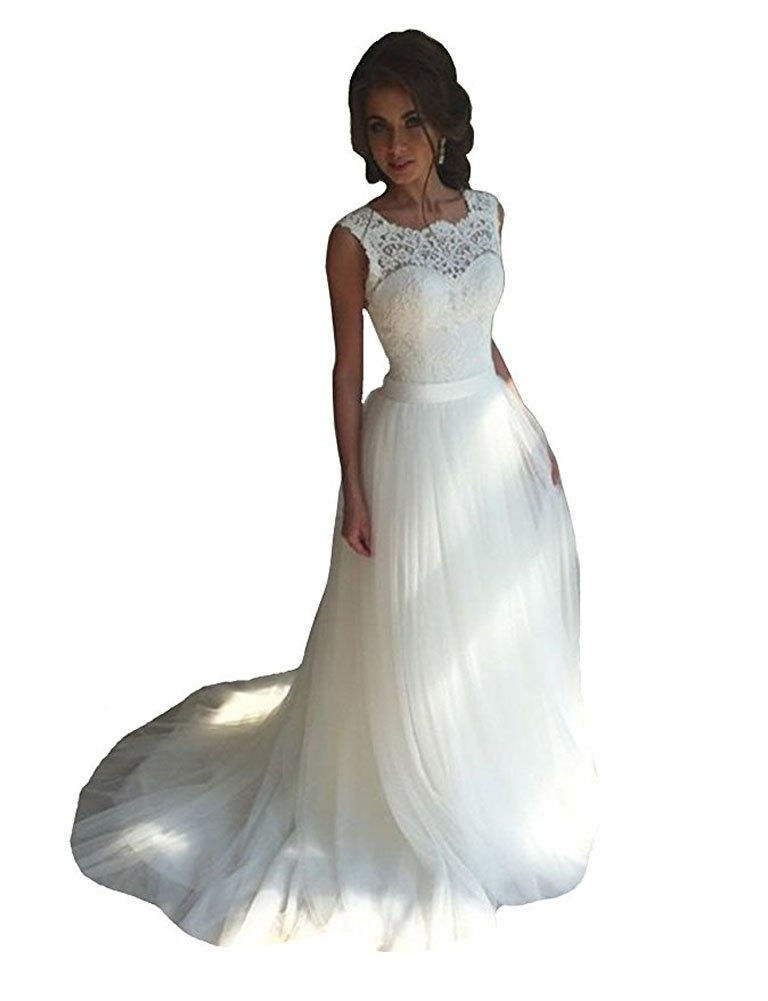 Danadress Women's 2017 New Tulle Lace Wedding Dresses A-Line Long Bride Gowns 35 (US10, White)