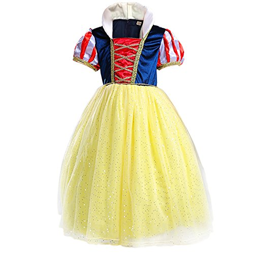 Yaphets Mall Girls' Snow White Princess Costume Fancy Dresses Up Halloween Party With Tiara, Wand and Sleeves (4-5)