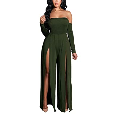 1cecef49 PARTY LADY Women's Sexy Strapless Split Wide Leg Jumpsuits Rompers Size S  Green