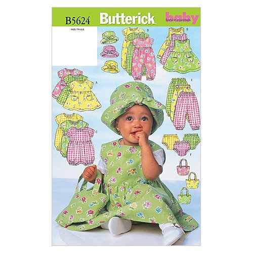 (BUTTERICK PATTERNS B5624 Infants' Dress, Jumper, Romper, Jumpsuit, Panties, Hat and Bag, Size NB0)