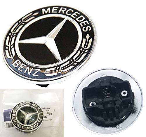 HNLJP Flat Hood Emblem for Mercedes Benz C E SL Class Ornament Logo Black ()