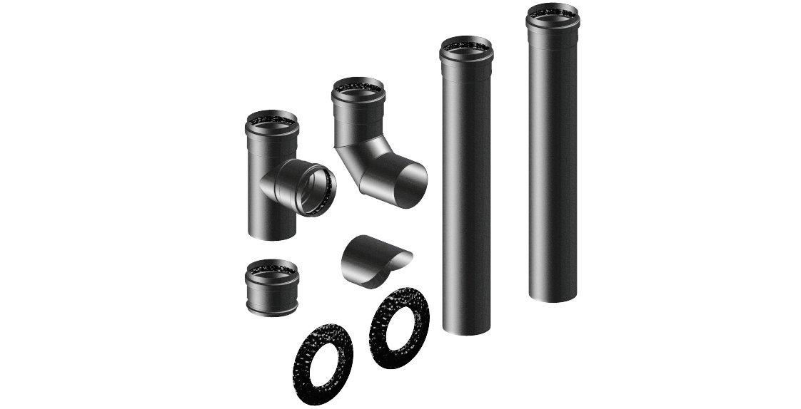 Kit Aluminio Caperuza para sfufe a Pellets Color tubos, Curve, Tees y accesorios barnizado a polvo negro mate.: Amazon.es: Bricolaje y herramientas