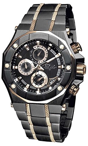 Solid Rose Gold Watch (Daniel Steiger Phantom RX Black & Rose Gold Luxury Men's Chronograph Watch - Premium Grade Stainless Steel - 50M Water Resistant - Chronograph Movement With Date Calendar - Multi-Layered Dial)