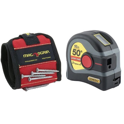 MagnoGrip 311-090 Magnetic Wristband with LTM1 2-in-1 Laser Tape Measure, 50' Laser Measure, 16' Tape Measure