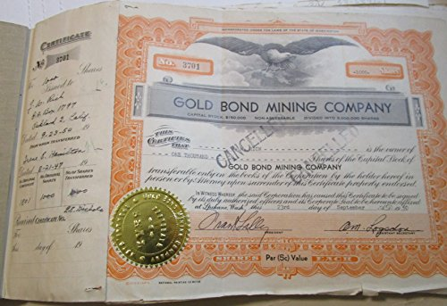 1950 No Mint Mark Vintage Gold Bond Mining Company Used Stock Certificate None Seller Circulated