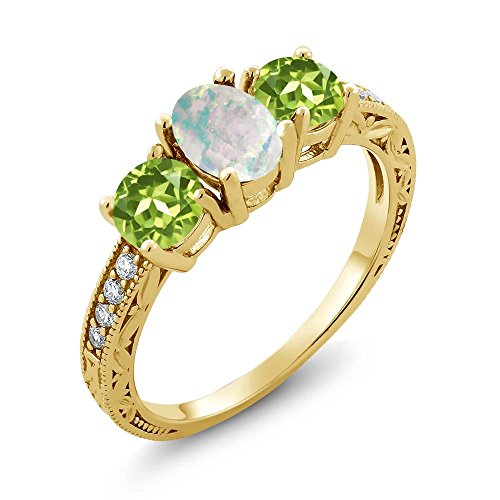 Gemstone Ring Cabochon (Gem Stone King 1.75 Ct Oval Cabochon White Simulated Opal Green Peridot 18K Yellow Gold Plated Silver Ring)