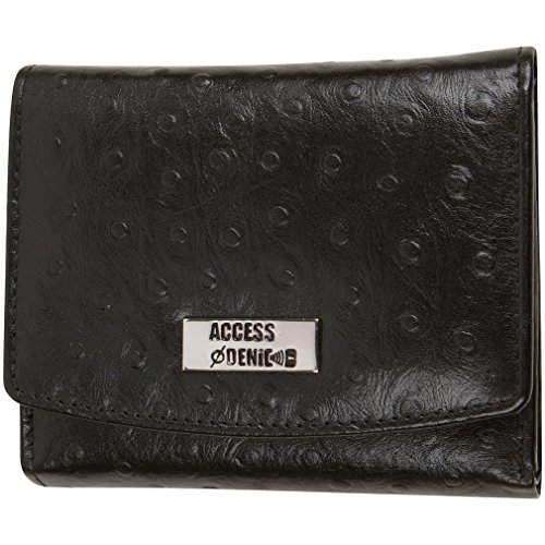 Access Denied Womens RFID Blocking Leather Wallet Trifold Slim (Black-Ostrich)