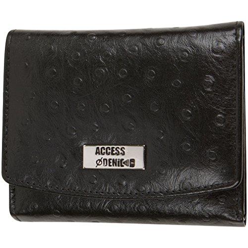 Access Denied Womens RFID Blocking Leather Wallet Trifold Slim (Black-Ostrich)