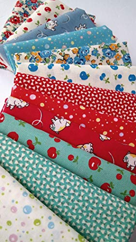(Retro 30s Child Smile Lecien Japanese Quilting Cotton Repro Fabric ~ 12 Fat Quarters ~ 3 Yards Total)