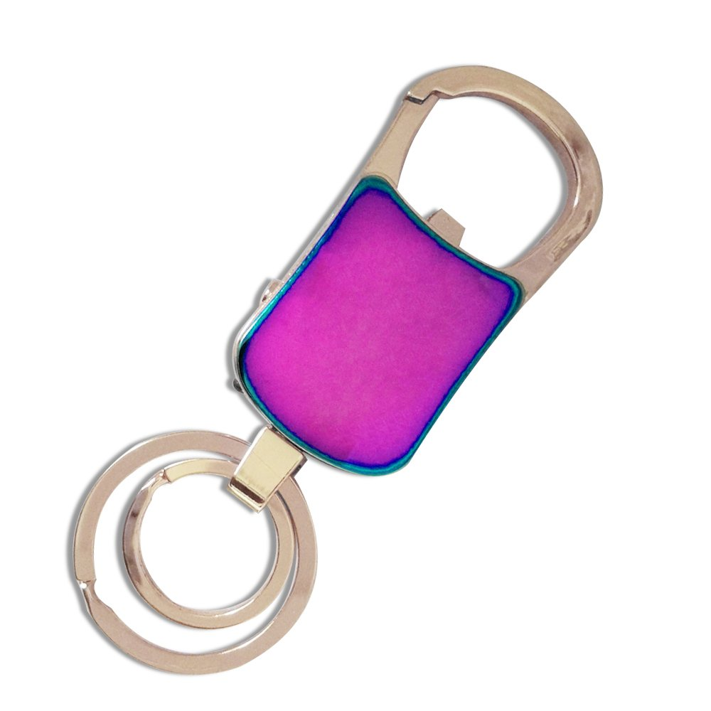 Keychain Flashlight with Bright LED Light Bottle Opener Electronic Cigarette Lighter USB Rechargeable Key Ring Clip Gift (Multi-Color)