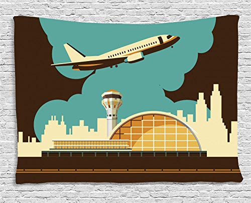 Airport Tapestry Wall Bts, Retro Style Image Airfield Plane and Cityscape, Wall Art Decoration for Bedroom Living Room Dorm, 90 W x 60 L Inches, Dark Brown Cadet Blue Pale Yellow Pale Orange]()