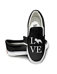 Love French Bulldog I Love Dogs Cute Lo-Top Casual Slip-On Shoes Black